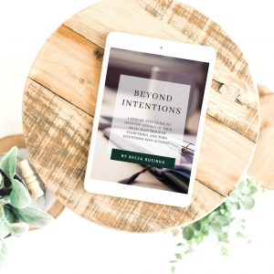 Picture of the PDF cover of Beyond Intentions displayed on an e-reader placed on a wooden tray.