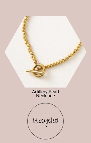 Artillery Pearl Necklace (A gold colored beaded necklace with a chunky fastener). Upcycled.