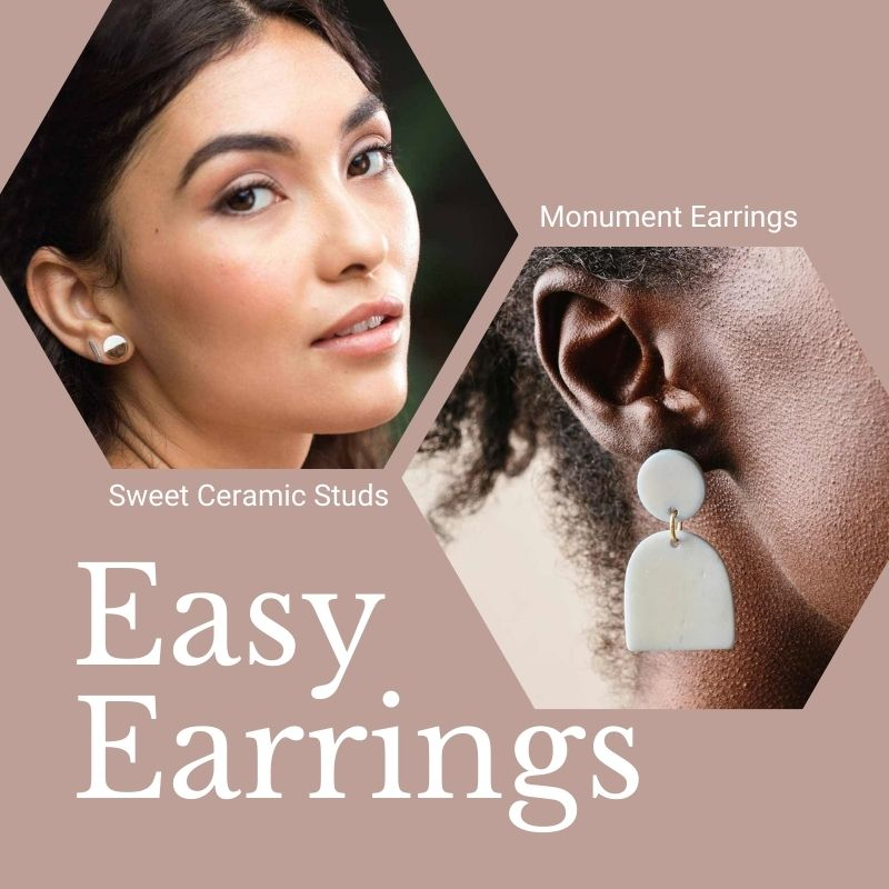 Easy Earrings. Sweet Ceramic Studs (a small round stud earring that is half gold, half white). Monument Earrings. (A white, sculptural pair of earrings comprised of a round stud and an arch-shaped drop)